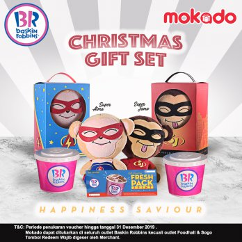 Baskin Robbins Christmas Gift Set Jamo / Alma + 2 Voucher fresh pack Pint