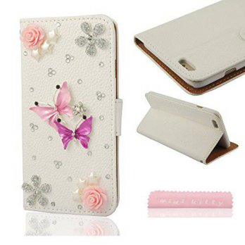[holiczone] Mini Kitty MINI KITTY- Butterfly Bling Diamond PU Leather Wallet Card Flip Cas/114923