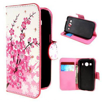 [holiczone] For Galaxy Ace 4 Style SM-G357FZ 4.3 , Leathlux 37 Wallet Plum Flower Style Ma/1407244