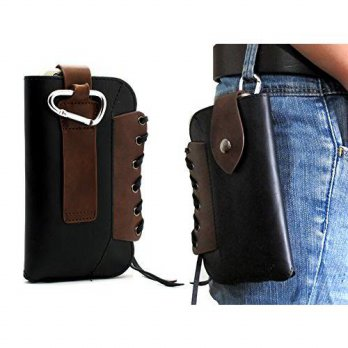 [holiczone] TOPPORT Black Cowboy Series Premium Leather Retro Sleeve Multi-function Bag Po/314128