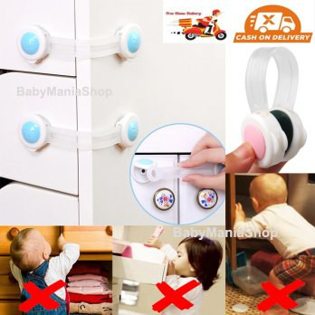 Pengaman Pelindung Pintu Lemari Laci Bayi Baby Safety Lock Band Child Lock Protection Kunci Furniture Kulkas Anak Babymaniashop