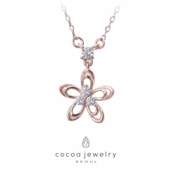 Korea Cocoa Jewelry Spring Flower - Kalung RoseGold