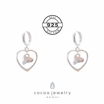 Korea Cocoa Jewelry Love Poet - Anting Real Silver