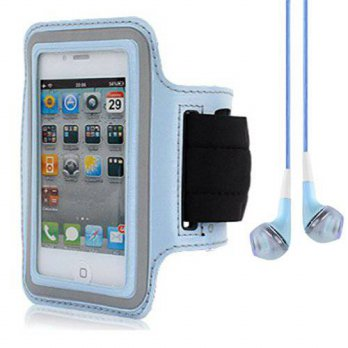 [holiczone] SumacLife Light Blue Workouts Gym Armband Pouch Case for Nokia Lumia 520 521 W/319141