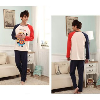 STLN375 - Setelan Piyama Men Minions Love Navy Red