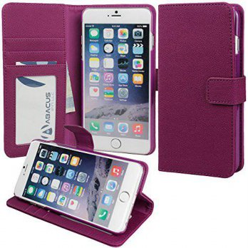 [holiczone] iPhone 6 Plus Case, Abacus24-7 Leather Wallet with Flip Cover and Stand, Purpl/93184