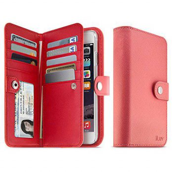 [holiczone] ILuv Jstyle Runway by iLuv - Leather Wallet Case (4.7) with Button Closure, Sa/98673