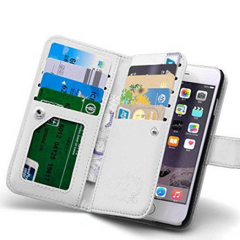 [holiczone] For iPhone 6 6s Case, Roybens 9 Card Slot PU Leather Wallet Case 2 in 1 Magnet/103317