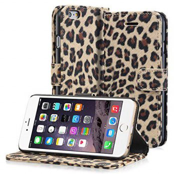 [holiczone] Fosmon Technology Fosmon CADDY-LEOPARD Leather Wallet Flip Cover Case for Appl/139928