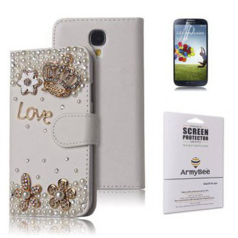 [holiczone] ArmyBee inc(TM) Samsung Galaxy S4 i9500 Bling White Crystal Love Crown Premium/110322