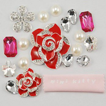 [holiczone] Mini Kitty MINI KITTY 3D Bling Large red flowers full diamond rhinestone Pearl/125160