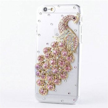 [holiczone] For iPhone 6 Plus Case,JANDM 3D Bling Crystal Diamond Rhinestone Peacock Case /125980