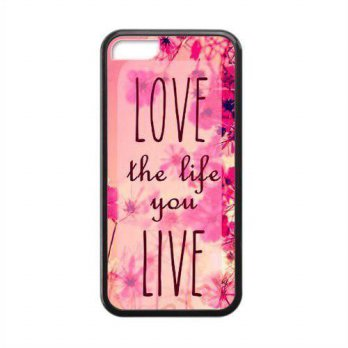 [holiczone] Evermarket EVERMARKET(TM) Pink Hipster Love the Life You Live Quote Hard Case /126425