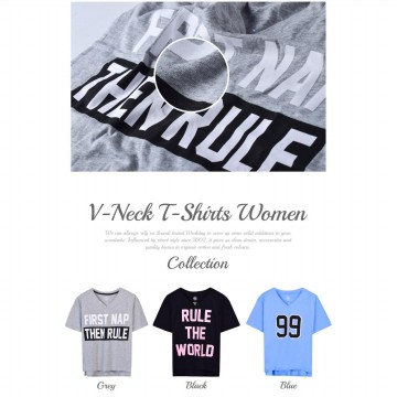 Ladies Short Sleeve V Neck T-Shirts With Print Available In 3 Colors