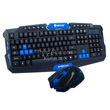 Rexus Keyboard Mouse Combo Wireless VR2 Multimedia Gaming 6D Warfaction - Hitam