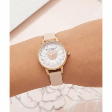 Olivia Burton 3D Daisy White Dial Ladies Watch OB16FS87