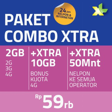 Paket COMBO XTRA M 12GB, 30hr, Rp59rb