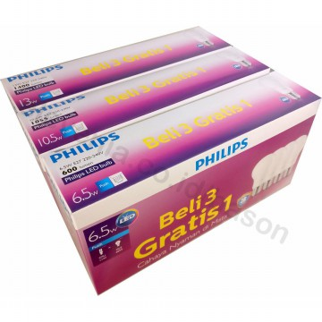 PHILIPS LED Bulb 6.5W Multipack Beli 3 Gratis 1 - Putih