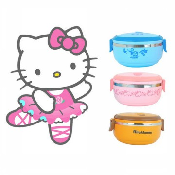 1 Susun Rantang Bulat LUNCH BOX HELLO KITTY DORAEMON RILAKUMA