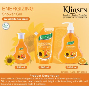 Klinsen Shower Gel Energizing 500ml - Sabun Mandi Cair