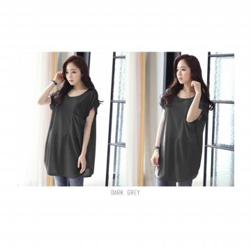 KOREAN STYLE ★ BIG POCKET LONG TEE / Super Soft Spandex / baju atasan wanita / blouse jumbo / tunic / longdress / pakaian wanita / long dress /baju kaftan