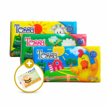 Tessa Travel Pack 50's 2 ply - isi 10 Pack  * Free 1 Pack Paseo Handky 9's