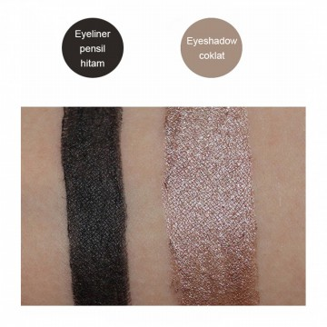 2 IN 1 BROWN EYESHADOW+BLACK EYELINER, makeup organik Perancis