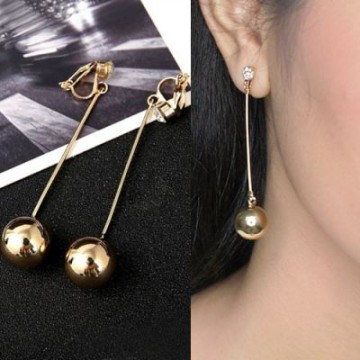 [ANTING] 02D1AAr-A8r Retro Simple Ball Electroplating Long Earrings