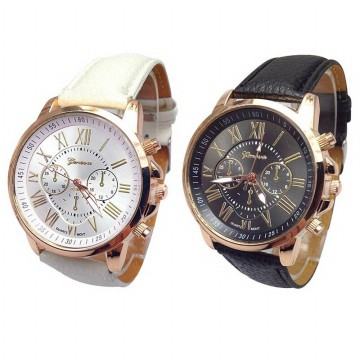 [1+1] [FREE ONGKIR] Black White Women Geneva Roman Numeral Faux Leather Analog Quartz couple Watches