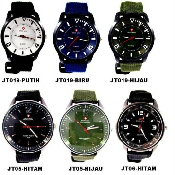 SWISS ARMY casual canvas watch - JT019-hijau - Diameter 3,6cm