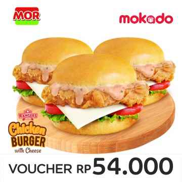 MOR RANGERS DEAL 6 : (3 RANGERS CHICKEN BURGER WITH CHEESE)