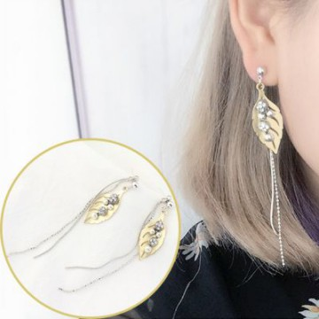 [ANTING] 02F187r Retro Exotic Leaf Earrings Gold