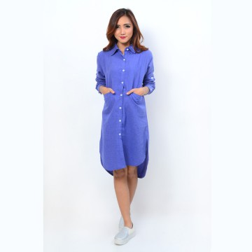 Tunik Model Korea bahan Denim Tangan Panjang
