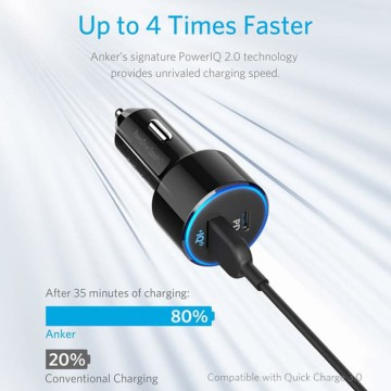 Car Charger Anker PowerDrive II With 1 PD And 1 IQ ​A2229 Black