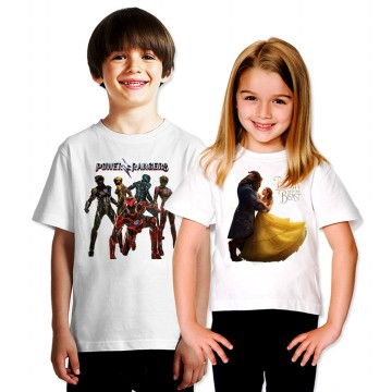 Kaos Anak Karakter - Unisex - 3M - 9Y - Power Rangers, Beauty & The Beast, Trolls