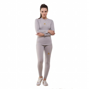 Tiento Baselayer Manset Compression Baju Olahraga Long Sleeve Grey Gold Original