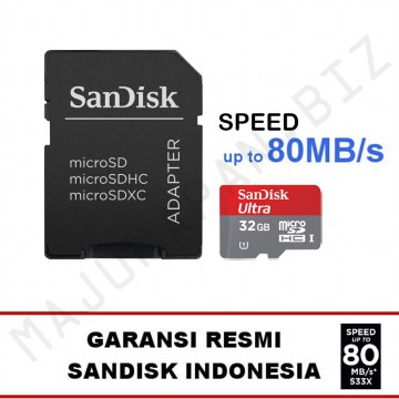 SanDisk Ultra Micro SD 32GB 80MB/s microSDHC 32 GB UHS-I Class 10 Free SD Card Adapter
