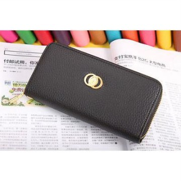Korean Colorful Clutch Purse Brand Wallet With Gold Zipper BLACK