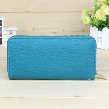Korean Colorful Clutch Purse Brand Wallet With Gold Zipper BLUE TOSCA