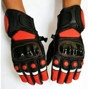 Sarung Tangan Kulit Panjang Dot Warna - Full Finger Leather Gloves