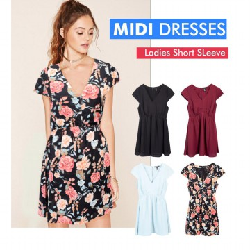 Ladies Short Sleeve Midi Dress Available In 4 Colors