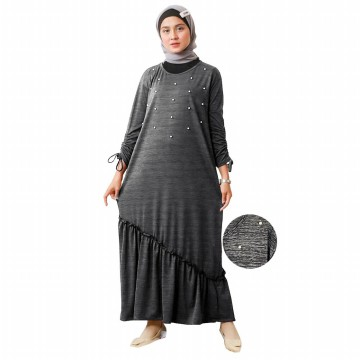 GISELLE Gamis Ruffless Women Drawstring Sleeve - AllSize Muslim Dress