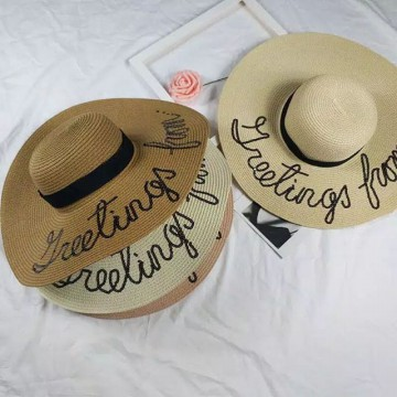Topi Pantai Jerami Lebar Import Letter Greeting From Topi Fashion Wanita
