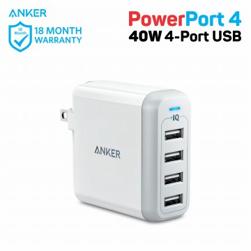 Wall Charger Anker PowerPort 4 40W A2142 White
