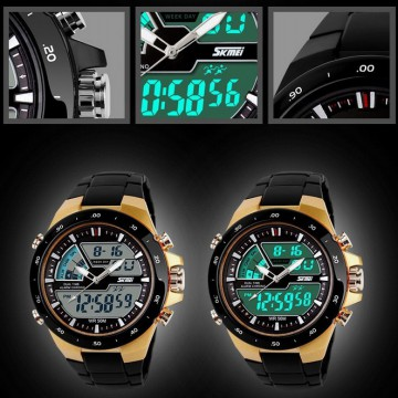 Jam Tangan Pria SKMEI Men Sport LED Watch Water Resistant 50m - AD1015|AD1016
