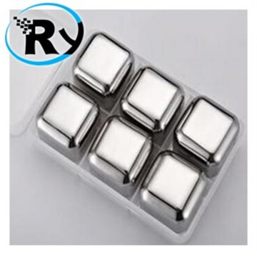 (Termurah) Es Batu Stainless Reusable Stainless Steel Ice Cube 6Pcs
