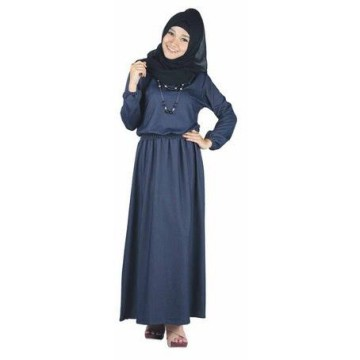 Jfashion Long Dress Gamis Maxi Tangan Panjang Plus Hijab - New Chambray