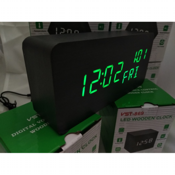 Jam Meja Digital Led Weker Digital Wood Alarm black green