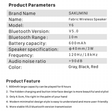 SAKUMINI Y6 ROUND BLUETOOTH WIRELESS SPEAKER - Abu-abu