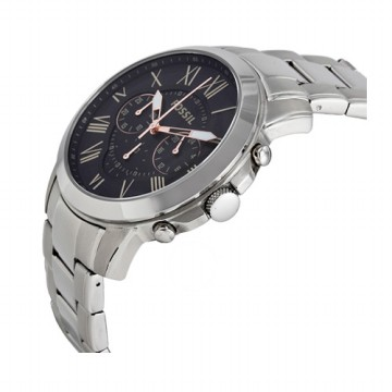 FOSSIL Grant Chronograph Black Dial Stainless Steel Jam Tangan Pria - Silver [FS4994]‎